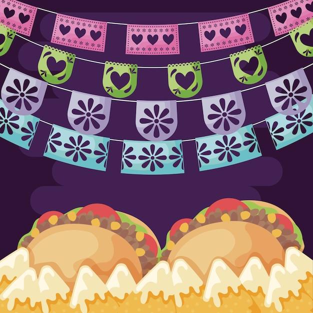 Meksykańskie taco wołowe z szkic świeżych warzyw Premium Wektorów