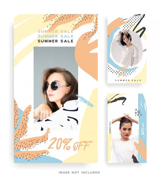 Memphis design fashion instagram collection collection Premium Wektorów