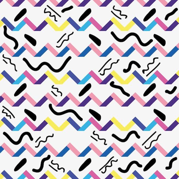 Memphis Styl Z Koloru Geometrycznego Projekta Wektoru Ilustracją Premium Wektorów