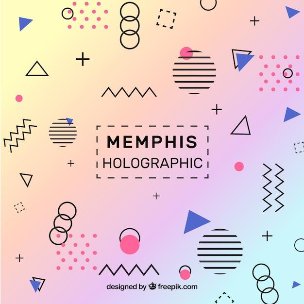 Memphis tło holograficzne Darmowych Wektorów