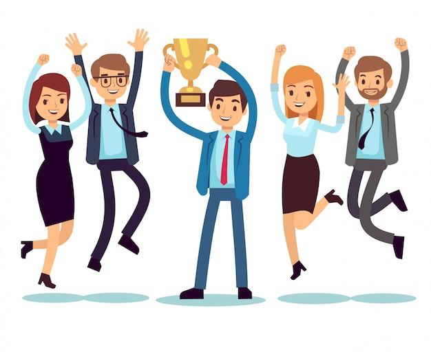 Menedżer ze zwycięskim pucharowym trofeum i skaczącymi pracownikami. sukces działalności zespołu wektor płaski koncepcja Premium Wektorów