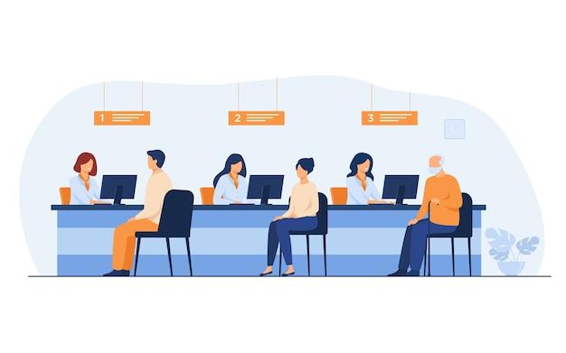 Menedżerowie Finansów Pracujący Z Klientami Na Białym Tle Ilustracji Wektorowych Płaski. Kreskówka Ludzie Siedzący W Biurze Banku Do Wymiany Pieniędzy. Darmowych Wektorów