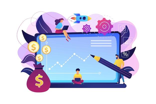 Menedżerowie Inwestycyjni Posiadający Laptopy Oferują Lepsze Zwroty I Zarządzanie Ryzykiem. Fundusz Inwestycyjny, Możliwości Inwestycyjne, Koncepcja Dźwigni Funduszu Hedgingowego. Jasny żywy Fiolet Na Białym Tle Ilustracja Darmowych Wektorów