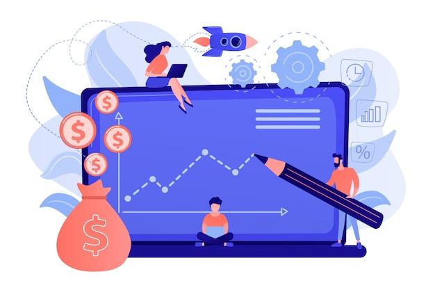 Menedżerowie Inwestycyjni Posiadający Laptopy Oferują Lepsze Zwroty I Zarządzanie Ryzykiem. Fundusz Inwestycyjny, Możliwości Inwestycyjne, Koncepcja Dźwigni Funduszu Hedgingowego Darmowych Wektorów