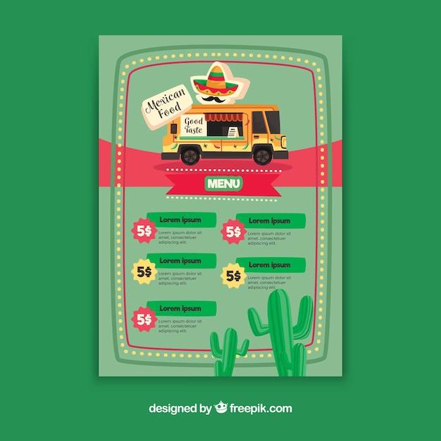 Menu ciężarówek z jedzeniem meksykańskim Darmowych Wektorów