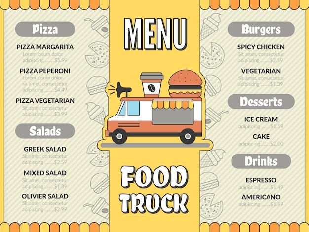 Menu Ciężarówki Z Jedzeniem. Kuchnia Na świeżym Powietrzu W Samochodzie Mobilnym Van Tacos Meksykańskie Lody Fast Food Napoje Szablon Ulotki Pizza Premium Wektorów