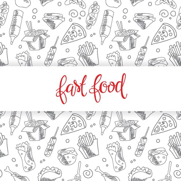 Menu fast food. zestaw ikon w tle. frytki, hamburger, frytki ze słodkich ziemniaków Darmowych Wektorów