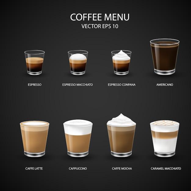 Menu Gorącej Kawy W Szklanym Kubku Z Ekspresu Do Kawy Dla Kawiarni, Premium Wektorów