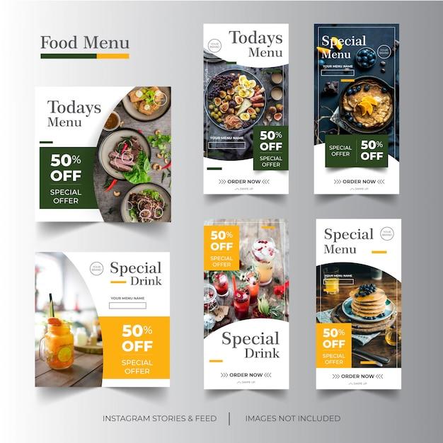Menu instagram stories & feed food Premium Wektorów