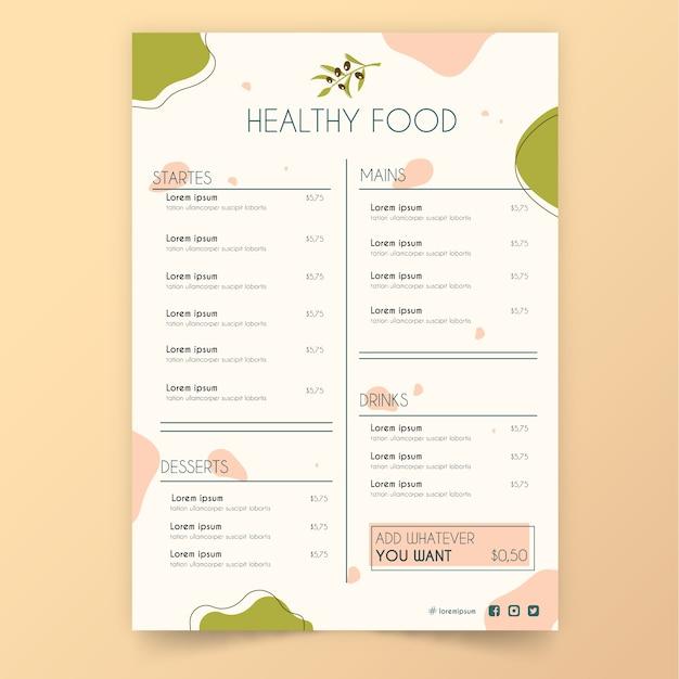 Menu Restauracji Rocznika Zdrowej żywności Darmowych Wektorów