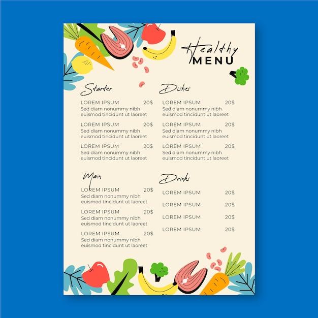 Menu Restauracji Warzywnych I Owocowych Darmowych Wektorów