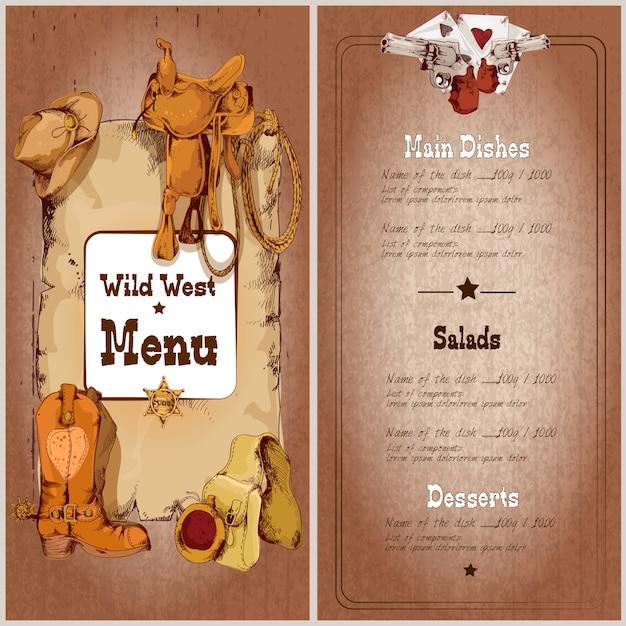 Menu restauracji wild west Darmowych Wektorów