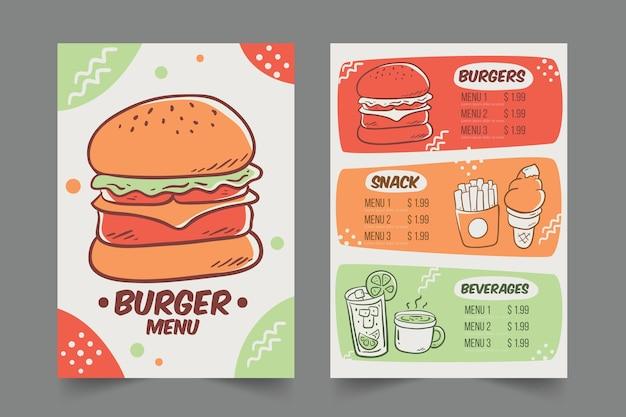 Menu Restauracji Z Szablonem Hamburgerów Darmowych Wektorów