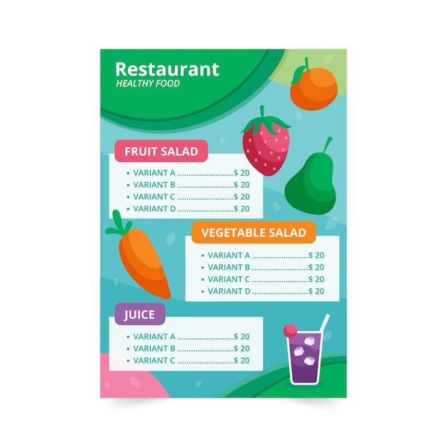 Menu Restauracji Zdrowej żywności Z Ilustracją Owoców I Warzyw Darmowych Wektorów