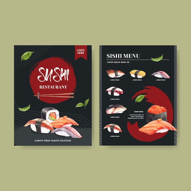 Menu sushi dla restauracji. Darmowych Wektorów