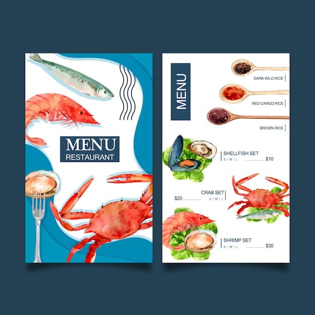 Menu światowego dnia jedzenia z krabami, rybami, krewetkami, ilustracjami akwareli ze skorupiaków Darmowych Wektorów