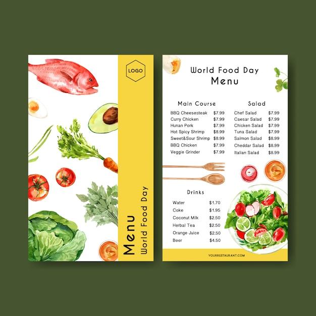 Menu światowego dnia jedzenia z marchewką, awokado, rybą, pomidorową akwarelą ilustracją. Darmowych Wektorów