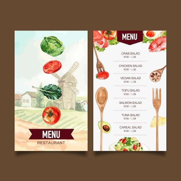 Menu światowego dnia jedzenia z pomidorem, jarmużem, jajkiem sadzonym, sałatkową akwarelą ilustracją. Darmowych Wektorów