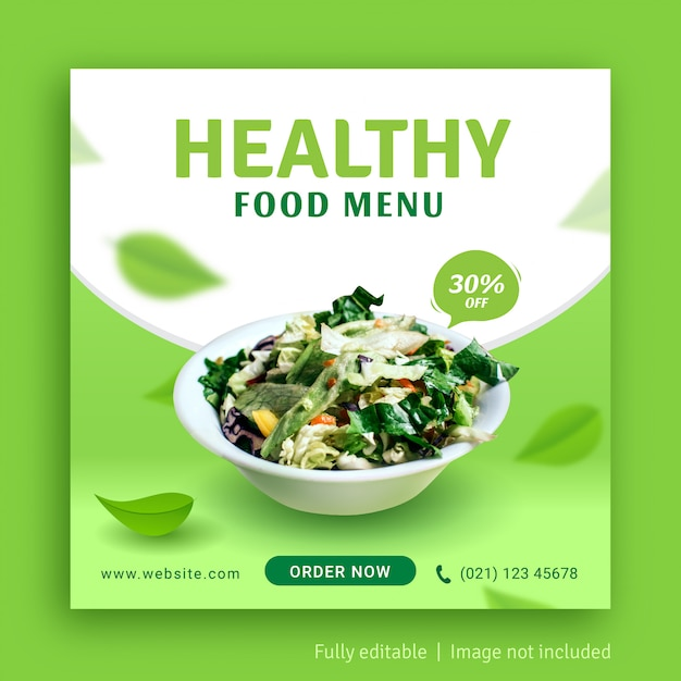 Menu Zdrowej żywności W Mediach Społecznościowych Publikuje Szablon Banera Reklamowego Premium Wektorów