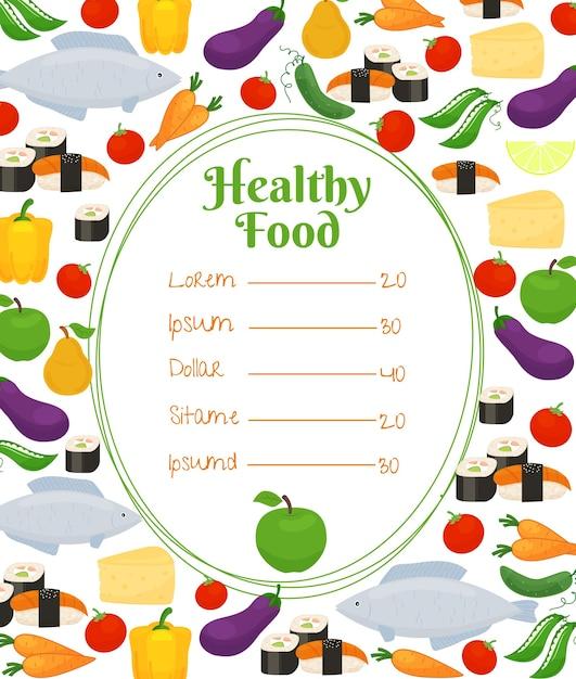 Menu Zdrowej żywności Z Owalną Ramką I Cennikiem Otoczonym Kolorowymi Rybami, Warzywami, Serem I Ikonami Owoców W Rozproszonych Darmowych Wektorów