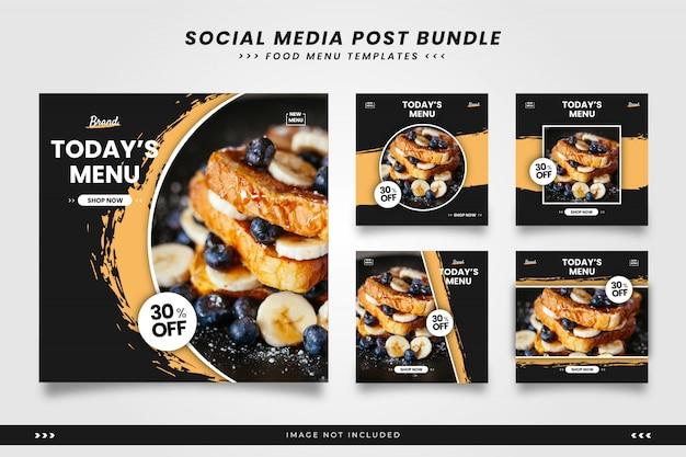 Menu żywności Z Pędzelkami Szablonów Wpisów W Mediach Społecznościowych Premium Wektorów