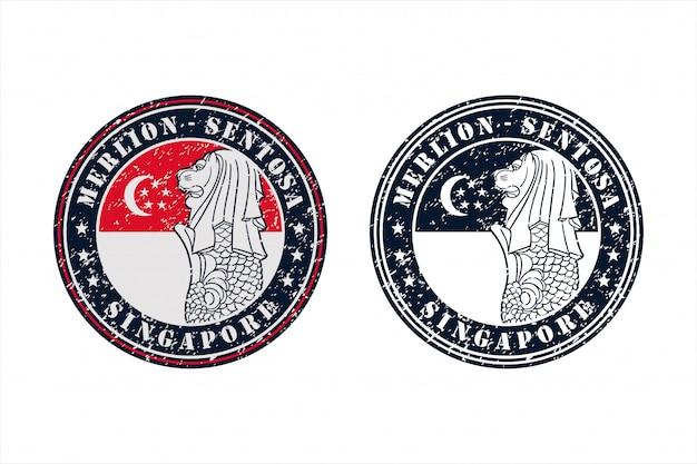 Merlion Sentosa Singapore Stamp Travel Design Logo Premium Wektorów