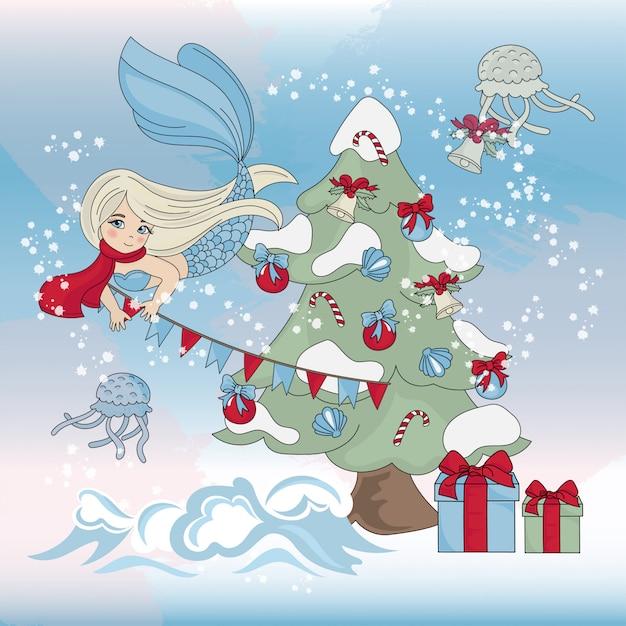 Mermaid decor święta boże narodzenie zestaw ilustracji kolor nowy rok Premium Wektorów