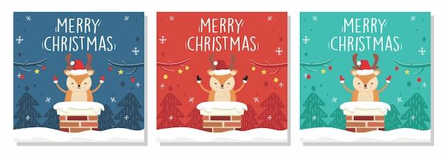 Merry christmas banner deer in chimney Premium Wektorów