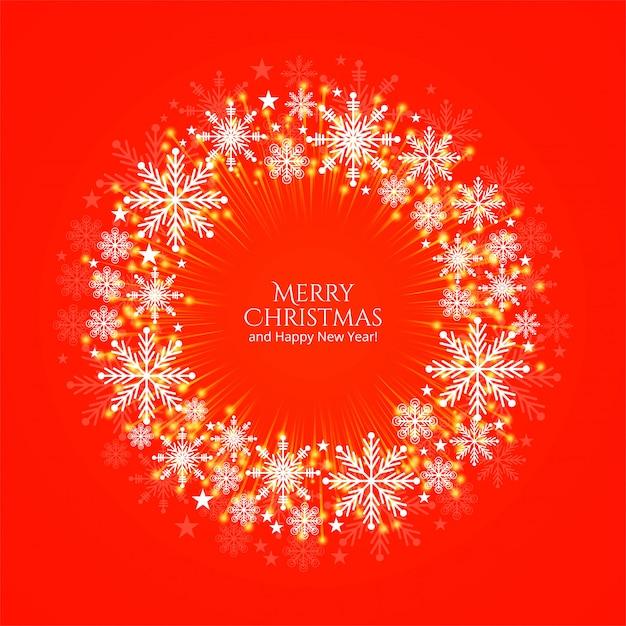 Merry christmas card piękne okrągłe snoflakes dekoracyjne tło Darmowych Wektorów