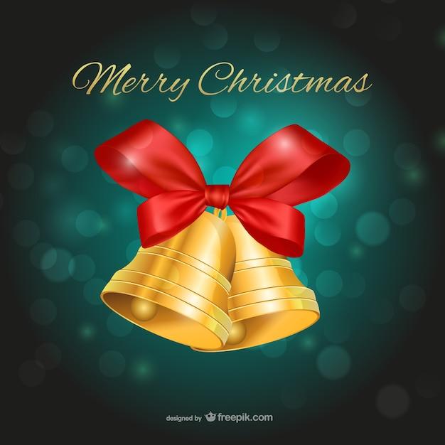 Merry Christmas Dzwony I Zielonym Tle Darmowych Wektorów