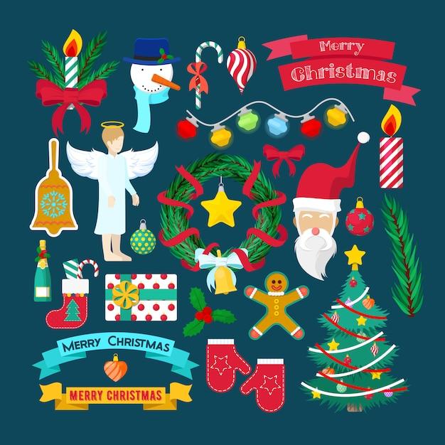 Merry Christmas Party Elementy Dekoracyjne Z Mikołajem, Choinką I Prezentami. Ilustracja Premium Wektorów