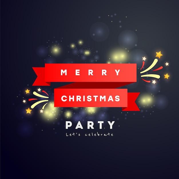Merry christmas party plakat lub karta z czerwoną wstążką, fajerwerki i tekst Premium Wektorów