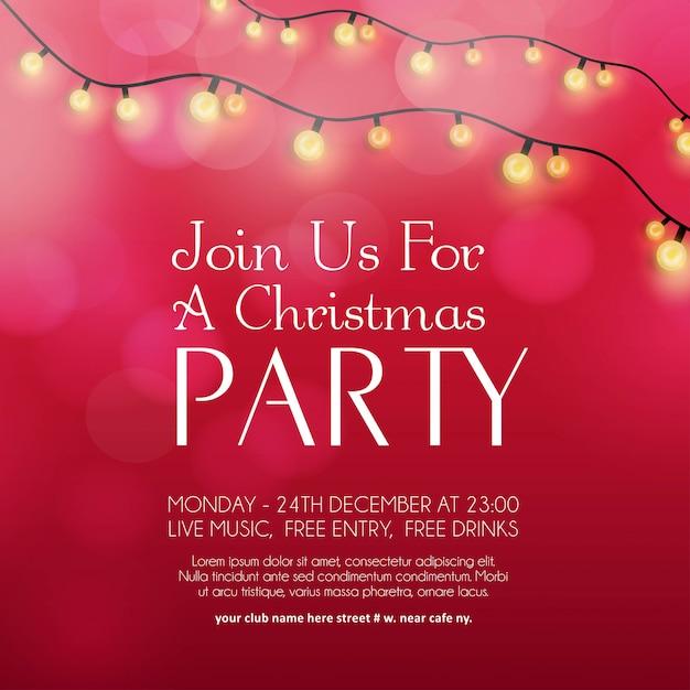 Merry christmas party zaproszenie w tle Darmowych Wektorów