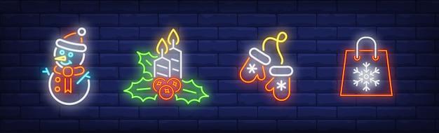 Merry Xmas Symbole Ustawione W Stylu Neonowym Darmowych Wektorów