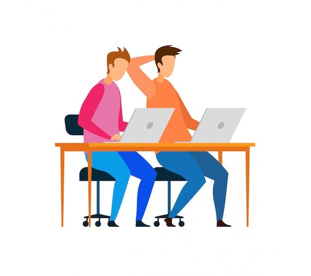 Męscy programiści pracujący na znakach laptopów Premium Wektorów
