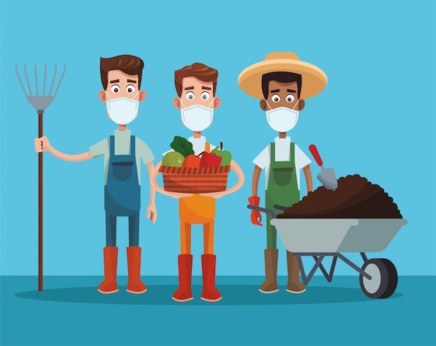 Męscy Rolnicy Jest Ubranym Medyczną Maski Scenę Premium Wektorów