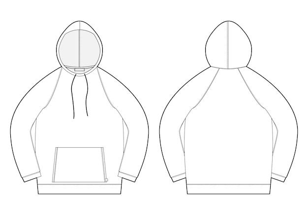 Męska bluza z kapturem ze szkicem technicznym. widok z przodu i tyłu. rysunek techniczny odzieży męskiej. Premium Wektorów