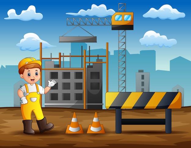 Męska inżynier pozycja przy budowy tłem Premium Wektorów