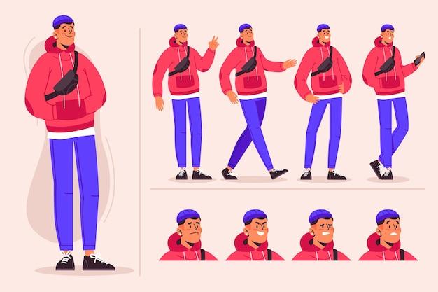 Męski Charakter Pozuje Paczki Ilustrację Darmowych Wektorów