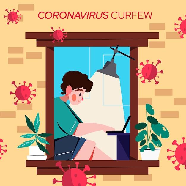 Męski Charakter Pracujący Na Godzinę Policyjną Koronawirusa Laptopa Darmowych Wektorów
