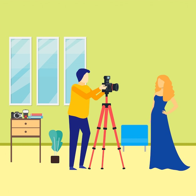 Męski fotograf z kobieta modela ilustracją Premium Wektorów
