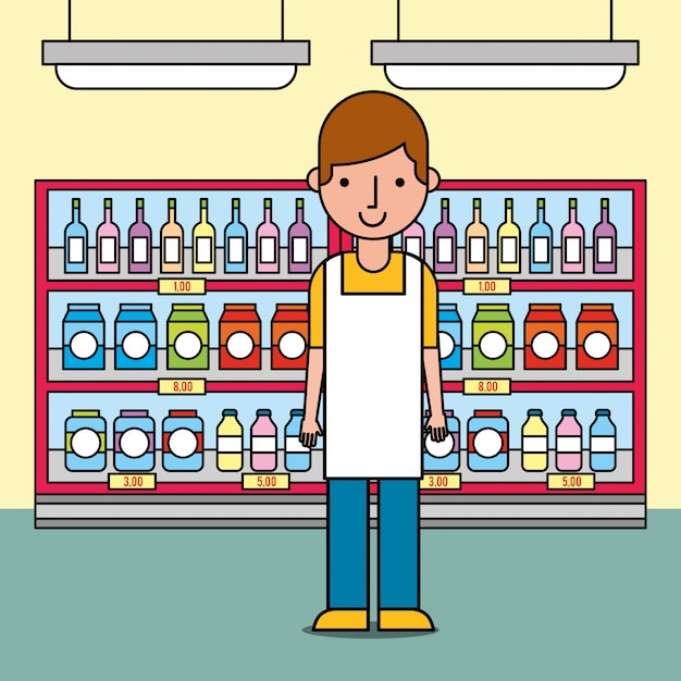 Męski pracownik stoi blisko półki z butelkami i pakunkami w supermarkecie Darmowych Wektorów