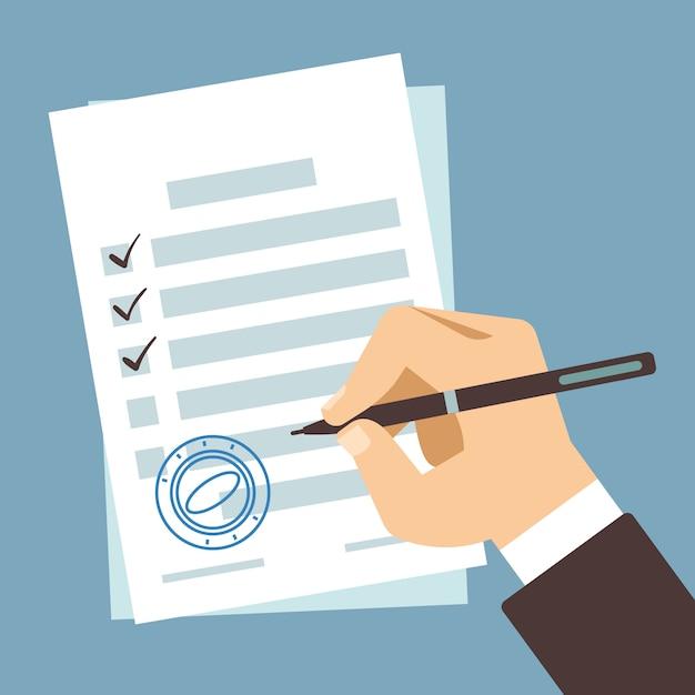 Męski ręki podpisywania dokument, mężczyzna writing na papieru kontrakcie, ręka segreguje podatek formę Premium Wektorów