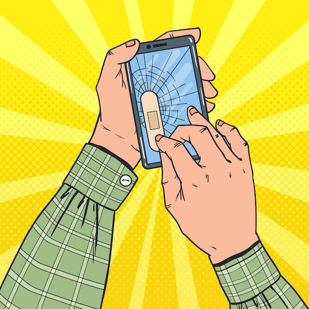 Męskie Ręce Trzymając Uszkodzony Smartfon Premium Wektorów