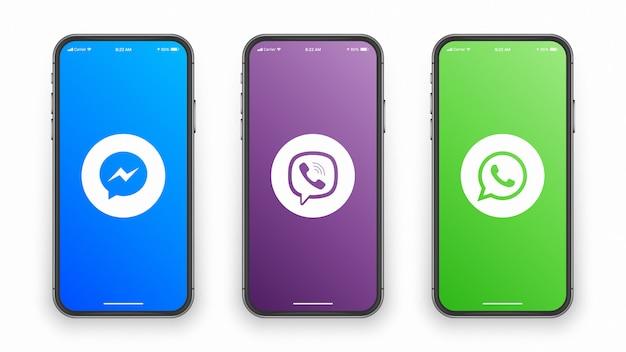 Messenger Viber Whatsapp Logo Na Ekranie Iphone Premium Wektorów