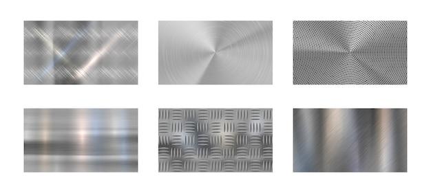 Metal Szczotkowany. Stalowa Metaliczna Tekstura, Polerowany Chrom I Srebrne Metale Błyszczą Realistycznym Tłem. Panele Ze Stali Nierdzewnej, Niklu Lub Aluminium Chromowane. Zestaw Tła Na Białym Tle Wektor Premium Wektorów