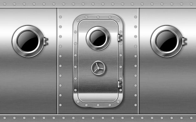 Metalowe Drzwi Na ścianie Z Iluminatorami I Nitami, Wejście Do łodzi Podwodnej Lub Bunkra Zamknięte. Darmowych Wektorów