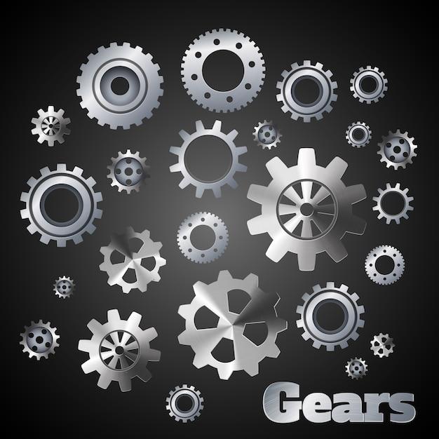 Metalowe Koła Zębate Mechanizmy Mechaników Przemysłowych Plakat Ilustracji Wektorowych Darmowych Wektorów
