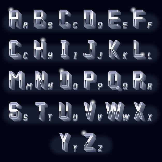 Metalowe, Wolumetryczne Litery 3d Chromowane. Typografia Retro Wymiarowe, Metalowa Ikona Designu. Darmowych Wektorów