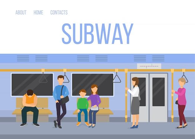 Metra metra pociągu samochodowy wnętrze z dojeżdżać do pracy pasażerów siedzi trwanie wektorową ilustrację. szablon sieci metra w kolorach niebieskim. Premium Wektorów